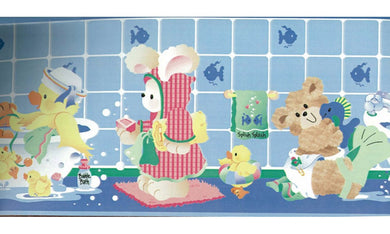 Blue Kids Bathroon Bears IF2449 Wallpaper Border