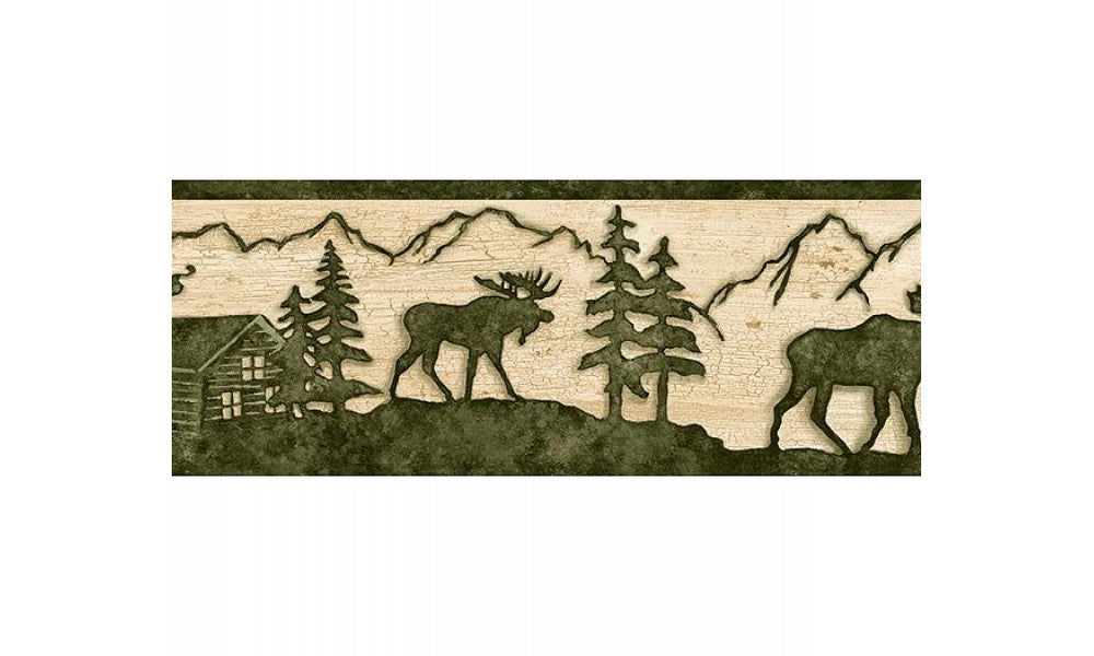 Beige and Green Lodge Moose TC48081 Wallpaper Border