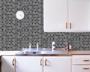 Grey Mosaic Tile Contact Paper Shelf Liner