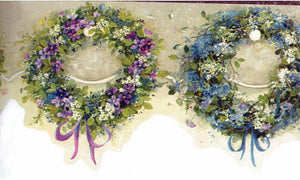 Blue Green Ring Flowers FAM65073 Wallpaper Border