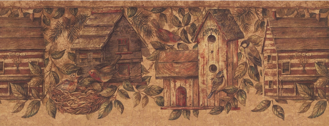 Birdhouses as Real Houses Nests BE10562B Wallpaper Border
