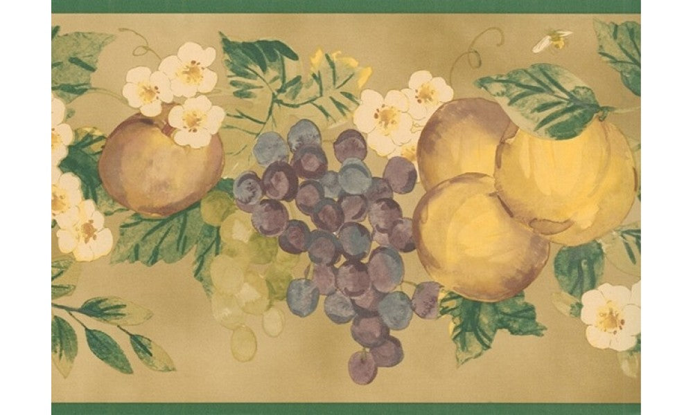 Green Apple and Grapes KR2258 Wallpaper Border