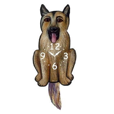German Shepherd Dog Wagging Pendulum Clock