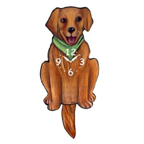 Golden Retriever Dog Wagging Pendulum Clock