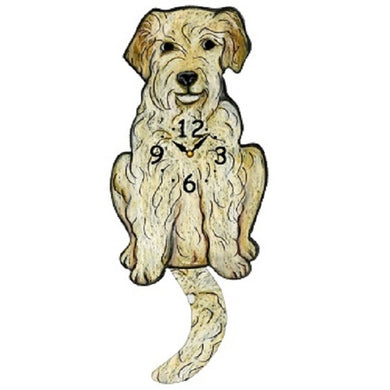 Goldendoodle Dog Wagging Pendulum Clock