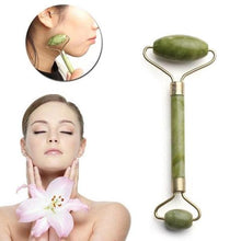 Load image into Gallery viewer, Jade Stone Rose Quarz Roller Gua Sha Set