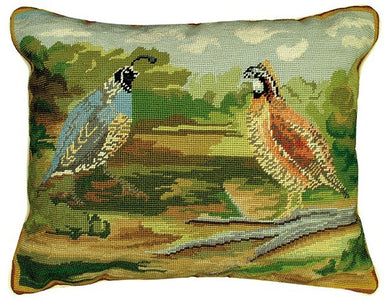 Quails in Woods Decorative Pillow