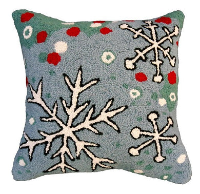 Snowflake Blue Field Decorative Pillow