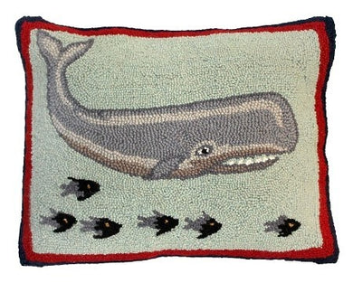 Whale and Fish Decorative Pillow
