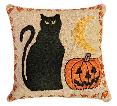 Black Cat & Pumpkin Decorative Pillow
