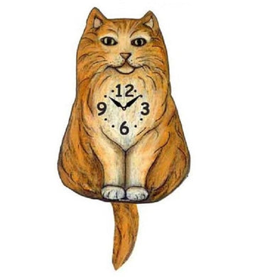 Fluffy Orange Cat Wagging Pendulum Clock