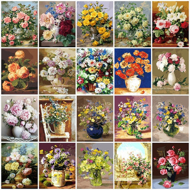 Flowers Vase Paint By Numbers DIY Canvas Oil Painting