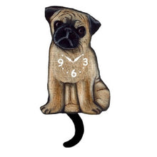 Load image into Gallery viewer, Pug Dog Wagging Pendulum Clock