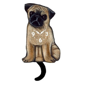 Pug Dog Wagging Pendulum Clock
