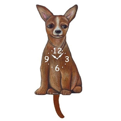 Tan Chihuahua Dog Wagging Pendulum Clock