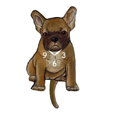 Tan French Bulldog Dog Wagging Pendulum Clock