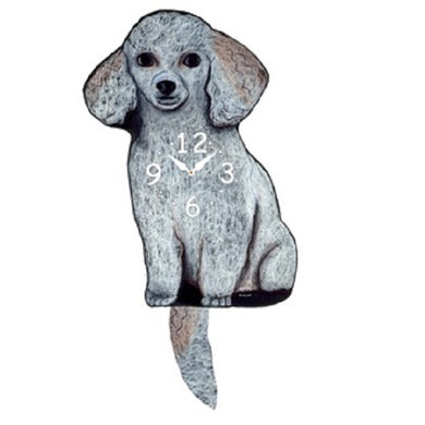 White Toy Poodle Dog Wagging Pendulum Clock