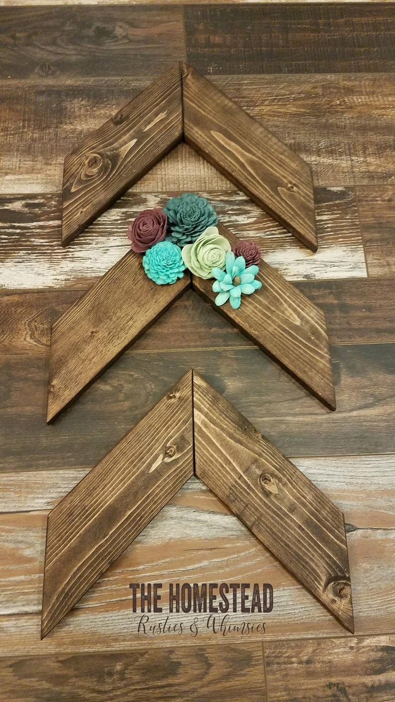 Wood Chevron Sets with Flowers