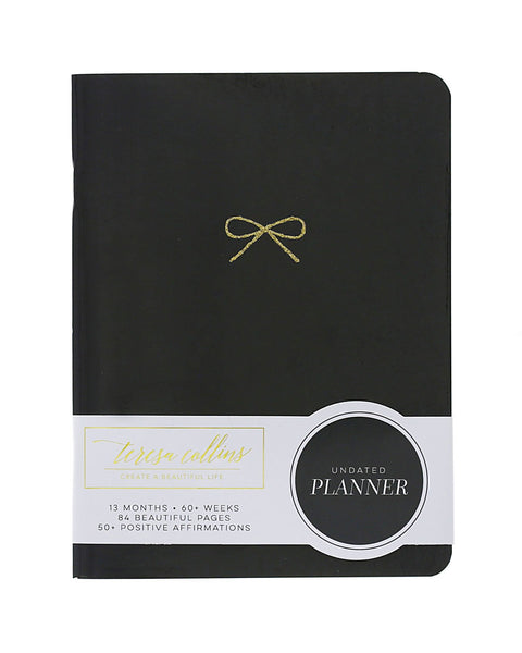 Black with Glitter Bow Planner