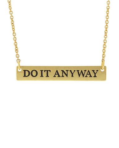 Do It Anyway Bar Necklace - Gold