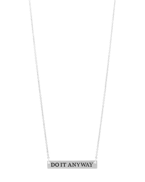 Do It Anyway Bar Necklace - Silver