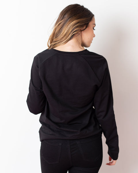 Stay Sparkly + Extra Focused Black Sweatshirt - Teresa Collins Studio