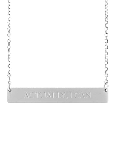 Actually, I Can Bar Necklace | Silver - Teresa Collins Studio