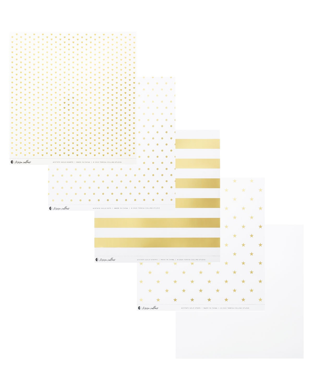 Clear Acetate Paper with Gold Patterns - Teresa Collins Studio