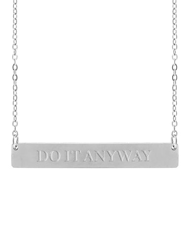 Do It Anyway Bar Necklace | Silver - Teresa Collins Studio