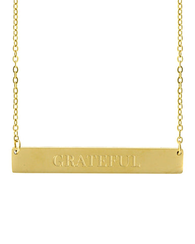 Grateful Bar Necklace | Gold - Teresa Collins Studio