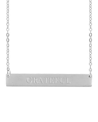 Grateful Bar Necklace | Silver - Teresa Collins Studio