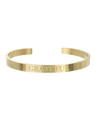 Grateful Open Cuff Bracelet | Gold - Teresa Collins Studio