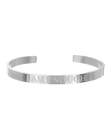 I Am Enough Open Cuff Bracelet | Silver - Teresa Collins Studio