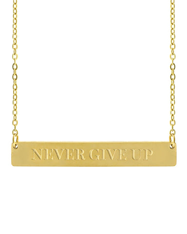 Never Give Up Bar Necklace | Gold - Teresa Collins Studio