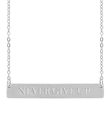 Never Give Up Bar Necklace | Silver - Teresa Collins Studio