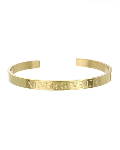 Never Give Up Open Cuff Bracelet | Gold - Teresa Collins Studio