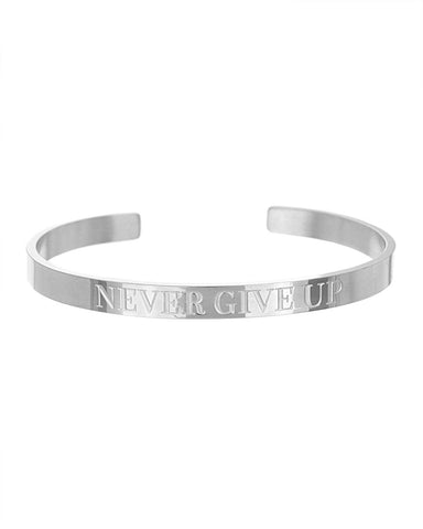 Never Give Up Open Cuff Bracelet | Silver - Teresa Collins Studio