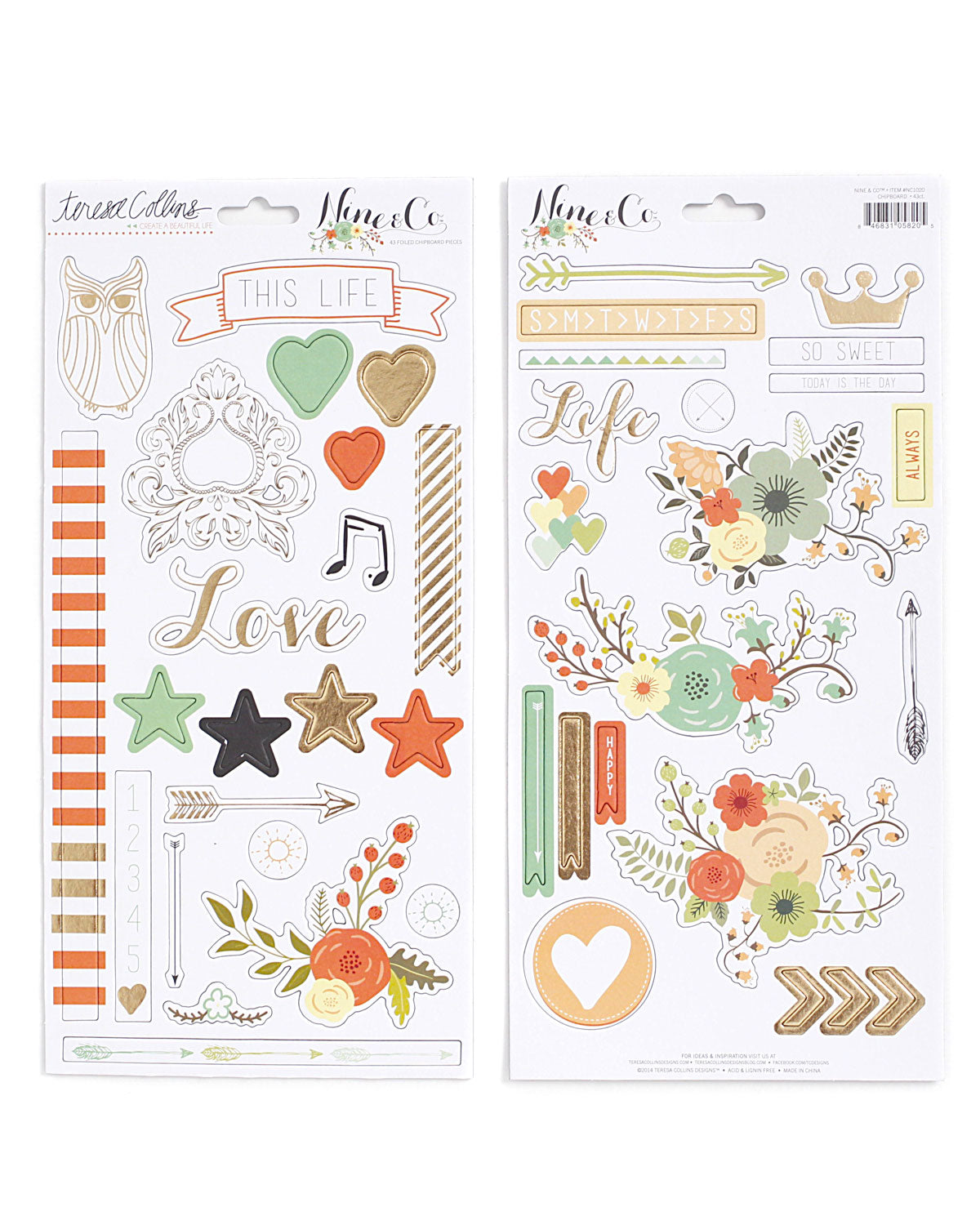 Nine & Co Chipboard Planner Stickers