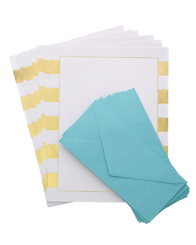 Studio Gold Stripes Stationery Set