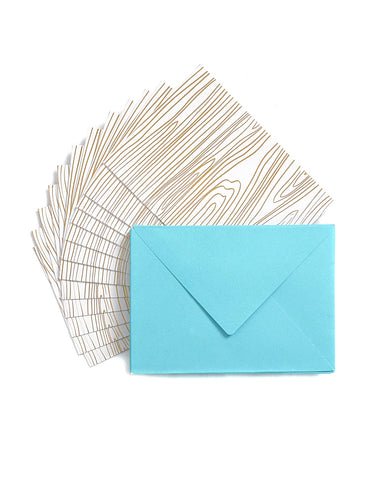 Studio Gold Woodgrain 12 Cards & Envelopes