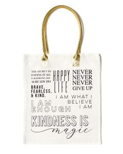 Multi Line Quote Tote Bag | White - Teresa Collins Studio
