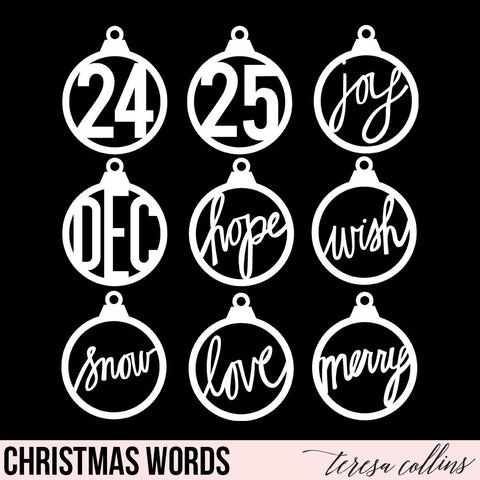 Christmas Word Ornaments