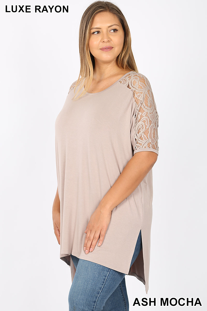 Emily Lace Sleeve Blouse in Ash Mocha
