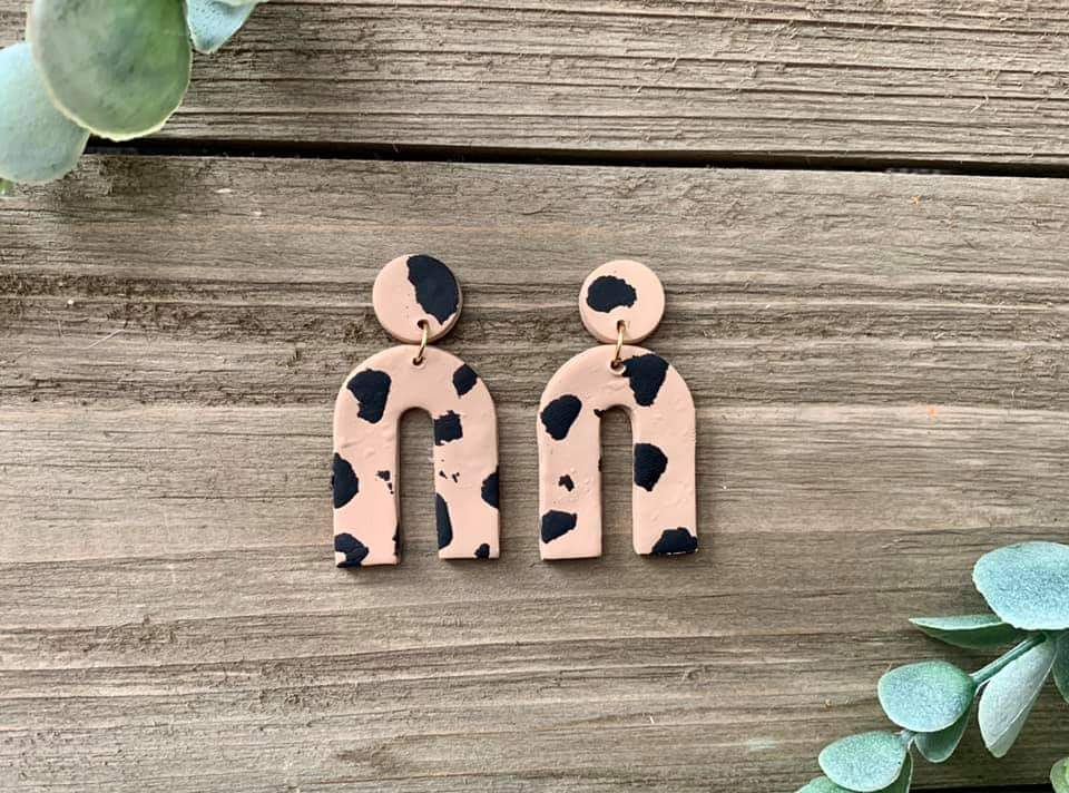 Handmade Clay Cow Print Statement Earrings