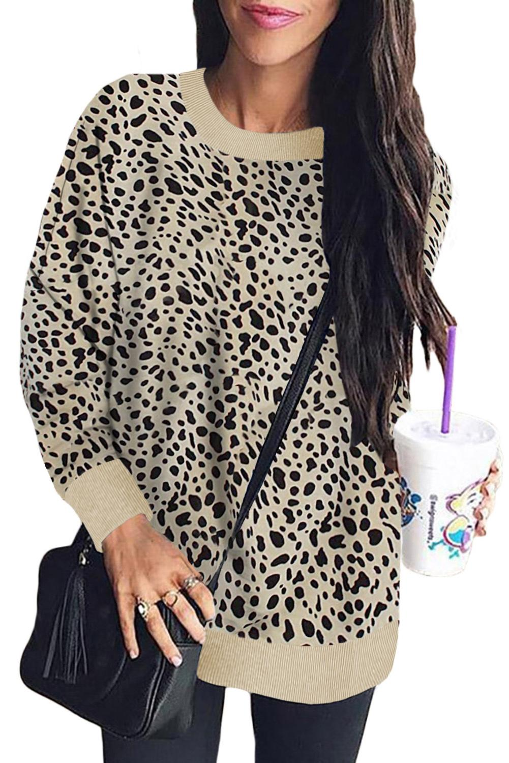 Hailey Beige Leopard Print Lightweight Sweater
