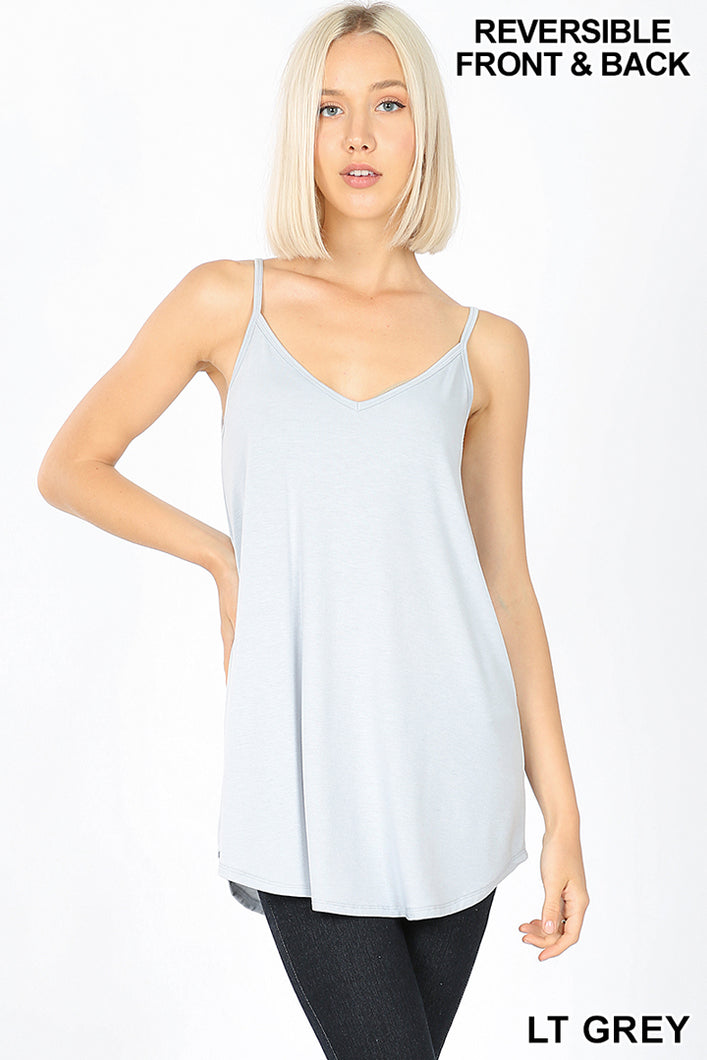 Buttery Soft, Reversible Spaghetti Cami in Light Gray