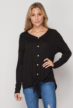 The Marina Black High Low Tie Top
