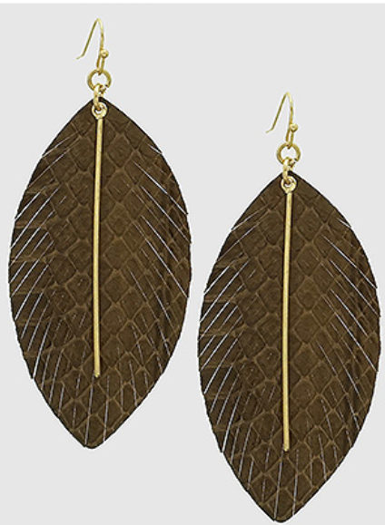 Thea Snakeskin Feather Earrings