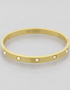 Cartier Look-a-Like Crystal Stud Bangle Bracelet in Gold