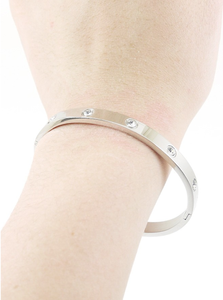 Cartier Look-a-Like Crystal Stud Bangle Bracelet in Silver